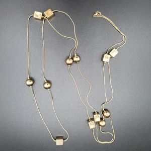 """60"""" long gold chain necklace w/ cubes, spheres"""